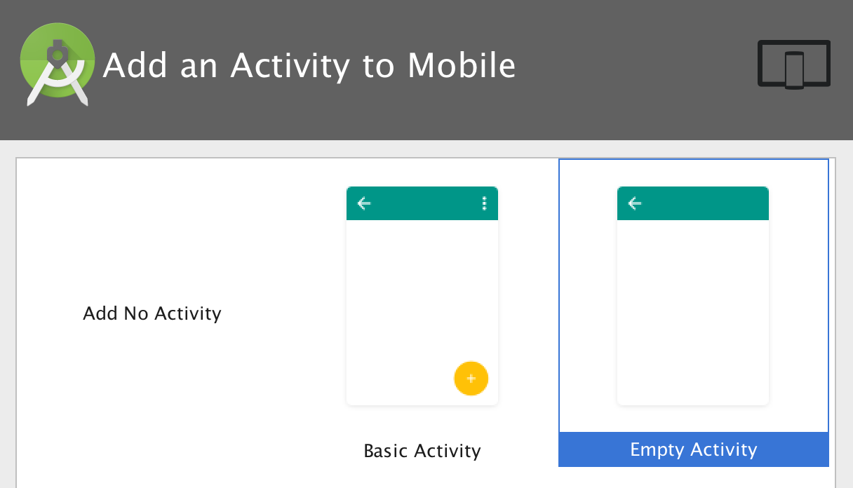 Select new project with blank activity in Android Studio