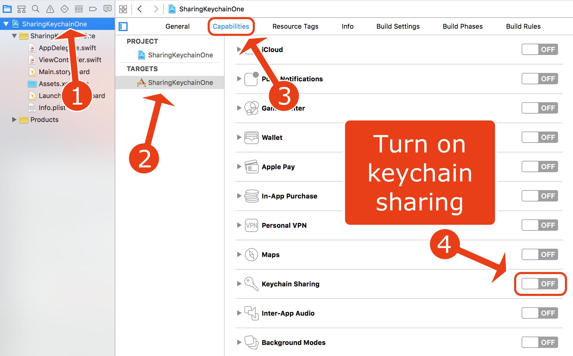 Turn on Keychain sharing in Xcode