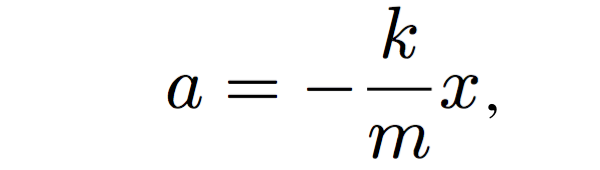 Equation of motion for harmonic oscillator equation: a=-(k/m)x