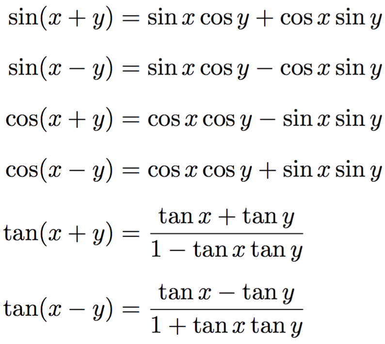 Trigonometric formulas for the sum and difference of angles