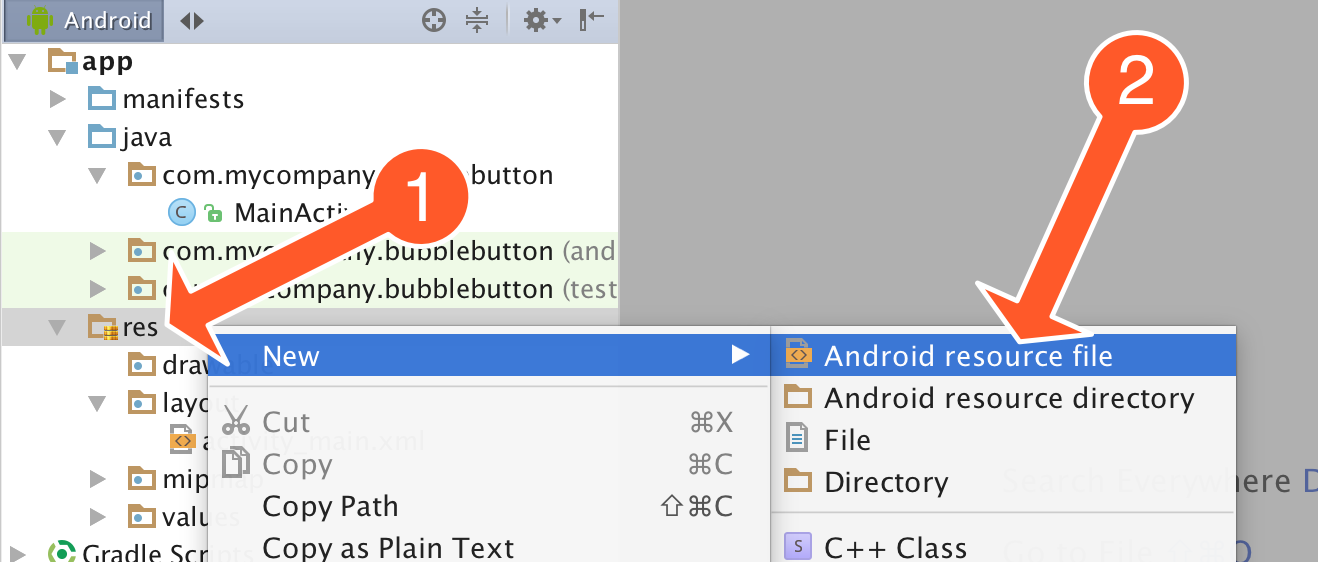 Create scale animation file in Android Studio