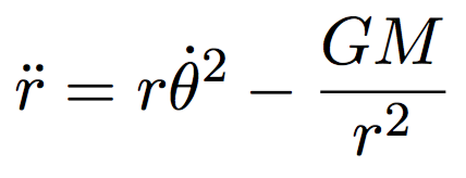 Equation of motion for the distance between the Sun and the Earth.