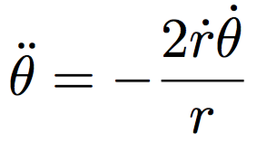 Equation of motion for the angle, solving for the second derivative.