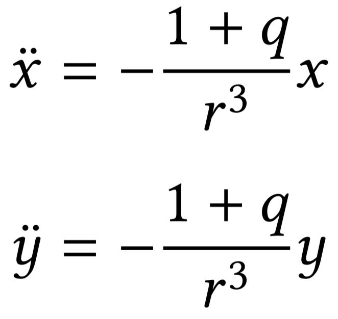 Equation of motion for x and y