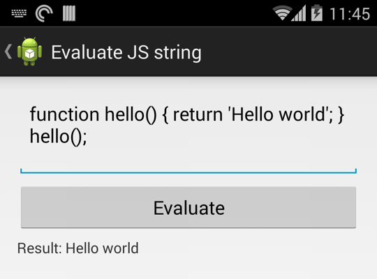 JavaScript evaluator library for Android